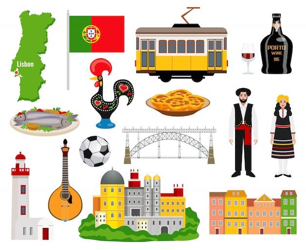 Ícones de turismo de portugal conjunto com cozinha e mapa símbolos ilustração em vetor isolados plana Vetor grátis