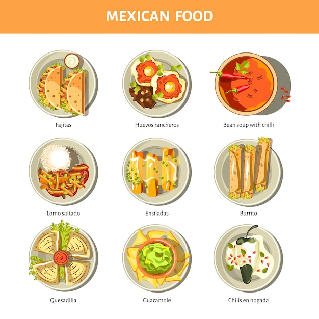 Ícones de vetor de cozinha comida mexicana para menu de restaurante Vetor Premium