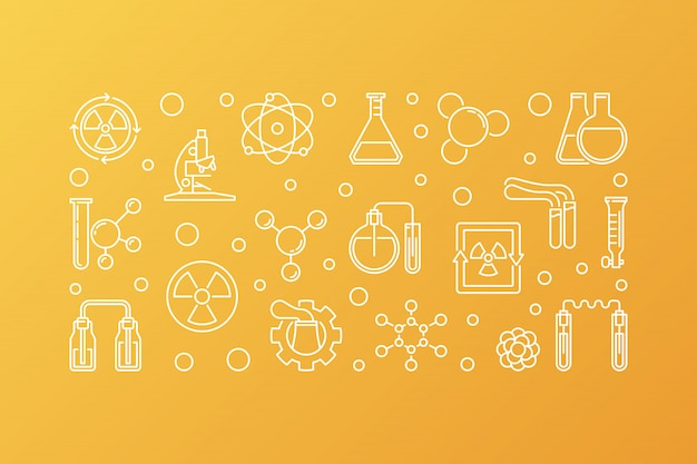 Ícones de vetor de química nuclear Vetor Premium