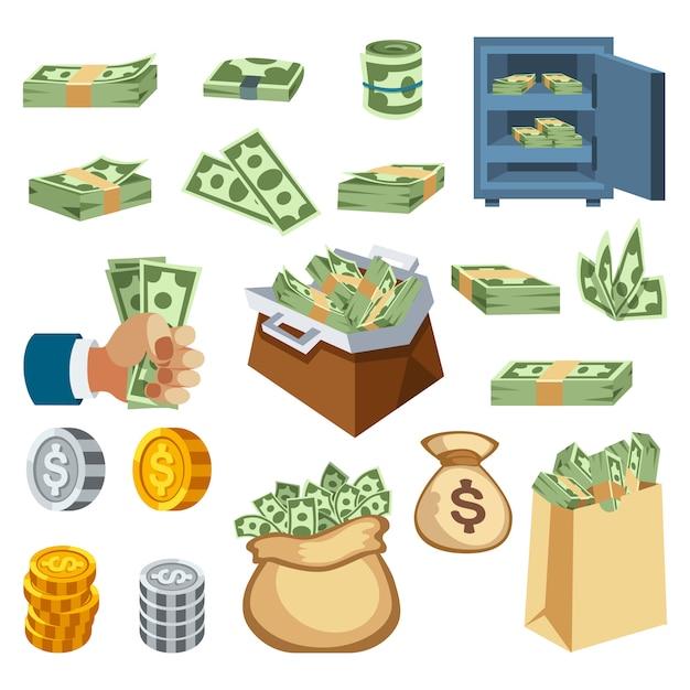 Ícones de vetor de símbolos de dinheiro Vetor Premium