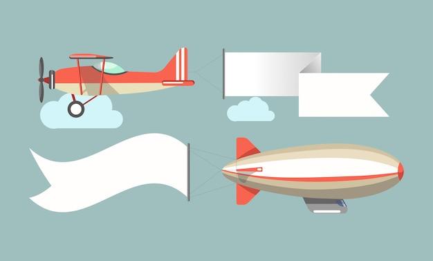 Ícones de vetor de veículos de publicidade a voar Vetor Premium