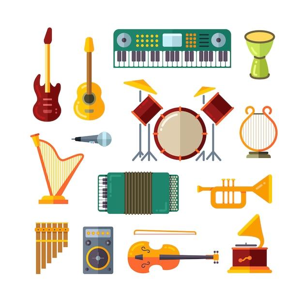 Ícones de vetor plana de instrumento de música Vetor Premium