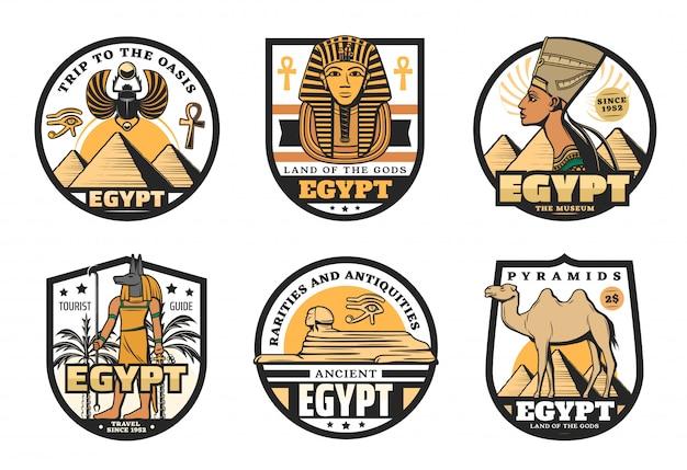 Ícones de viagens do egito das pirâmides do faraó antigo Vetor Premium