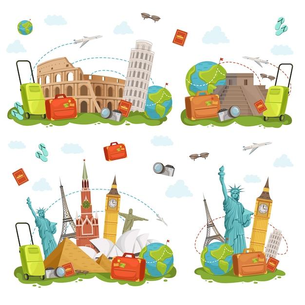 Ícones de viagens e diferentes pontos de referência. os lugares famosos do mundo isolam no branco. conjunto de ilustrações vetoriais Vetor Premium