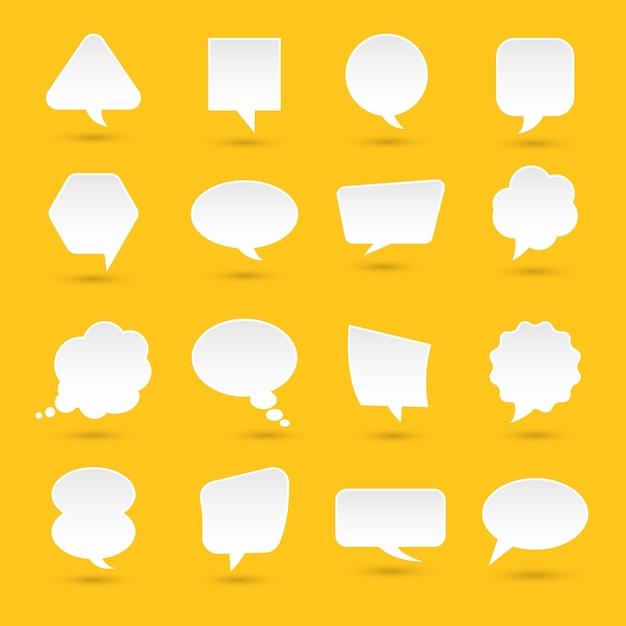 Ícones definir mensagem de bolha para texto. ilustrações. Vetor Premium