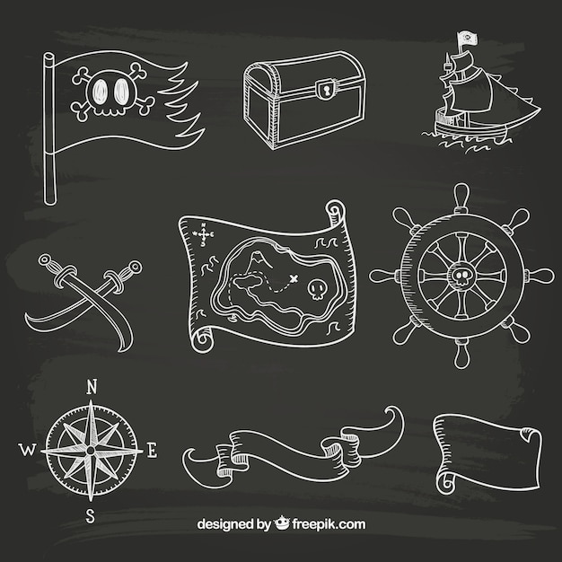 Ícones desenhados mão do marinheiro Vetor grátis