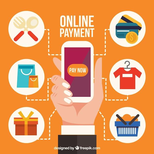 Ícones diferentes sobre o pagamento eletrônico Vetor grátis