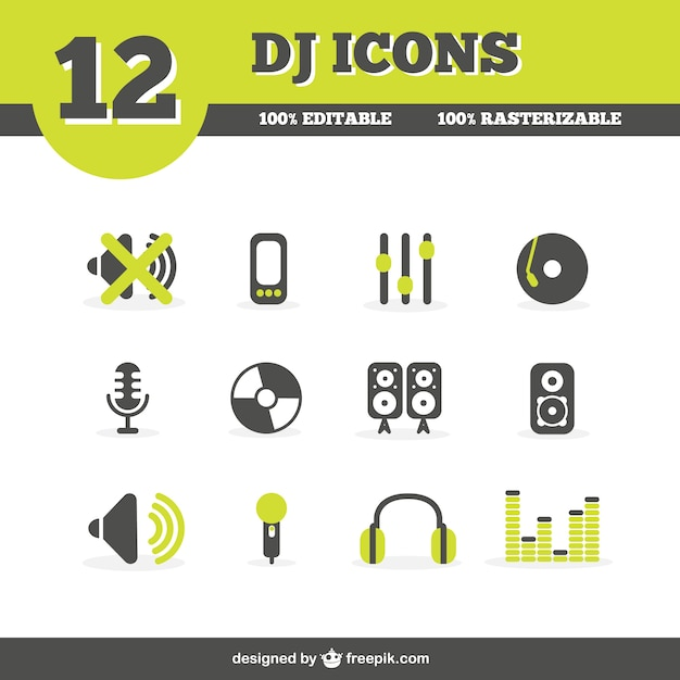 ícones DJ Set Vetor grátis