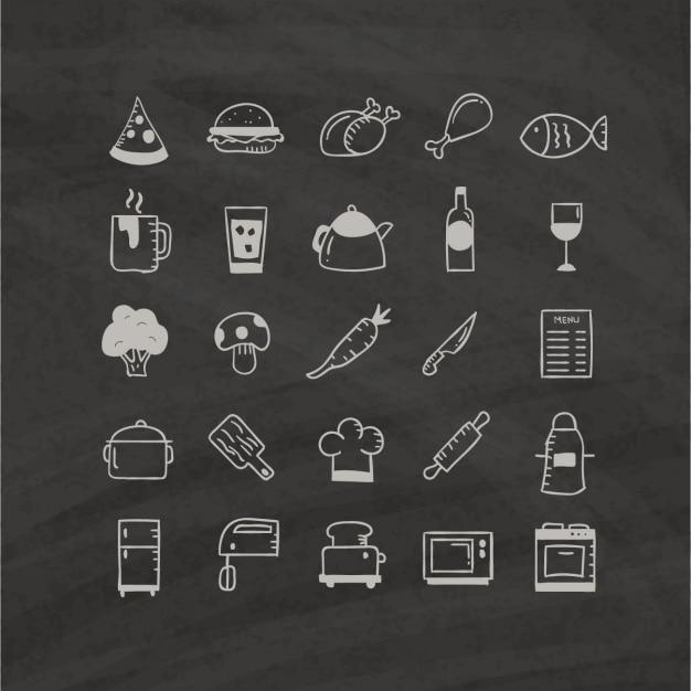 Ícones do alimento desenhado à mão em um fundo preto Vetor grátis