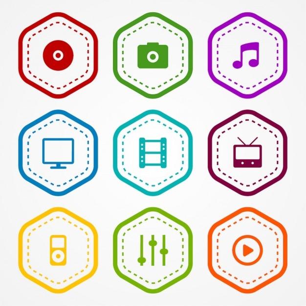 Ícones do app emblemas Vetor grátis