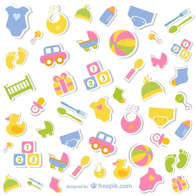 Ícones do bebê coleção livre Vetor grátis