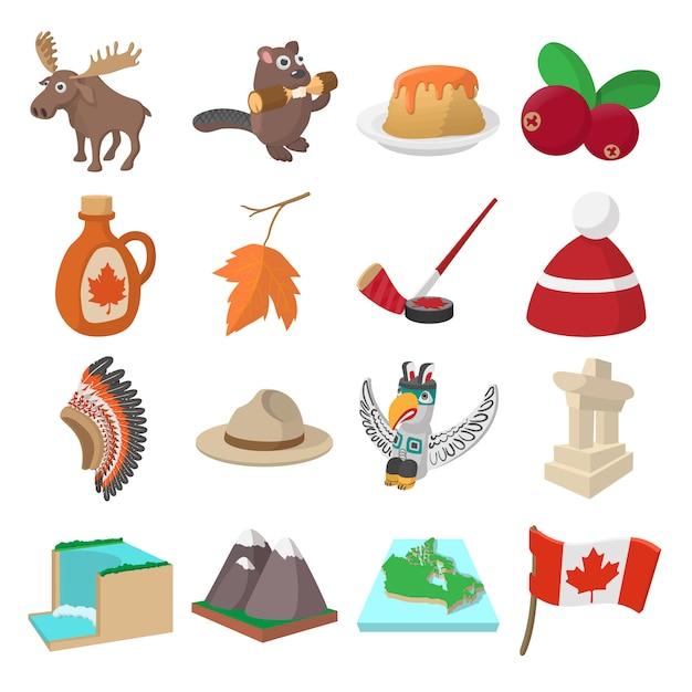 Ícones do canadá em estilo cartoon para web e dispositivos móveis Vetor Premium