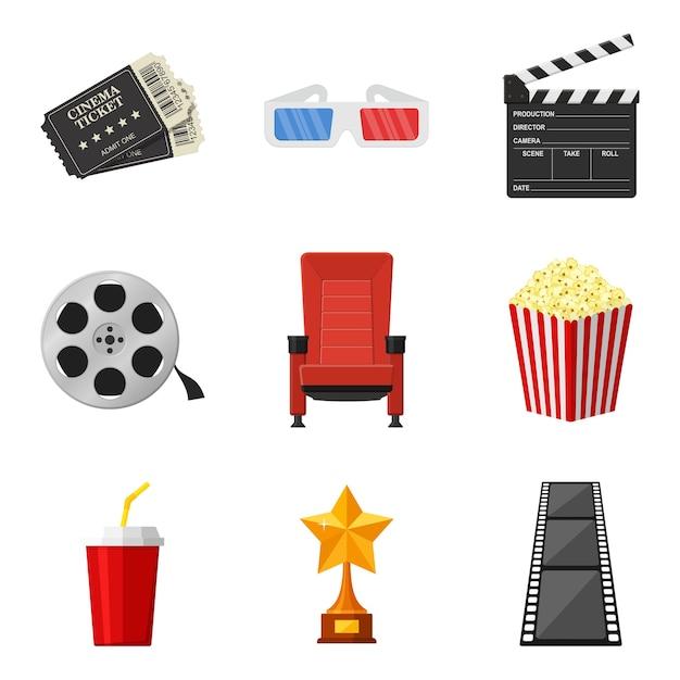Ícones do cinema situados em estilo simples, sobre fundo branco. para alugar e assistir filme nos elementos decorativos do cinema. acessórios para cinemas. conceito de filme e filme. Vetor Premium