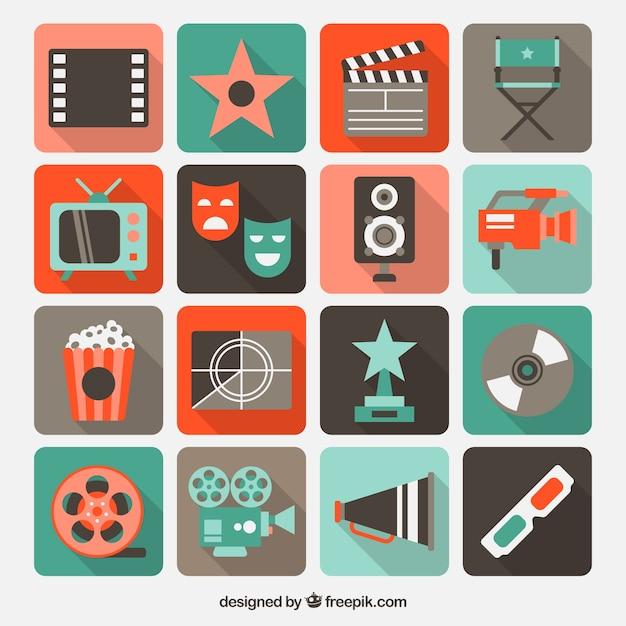Ícones do cinema Vetor grátis