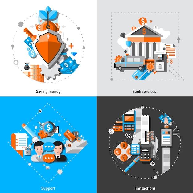 Ícones do conceito de banca Vetor grátis