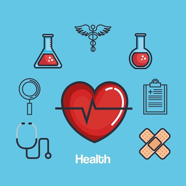 Ícones do conjunto de medicamentos para saúde Vetor Premium