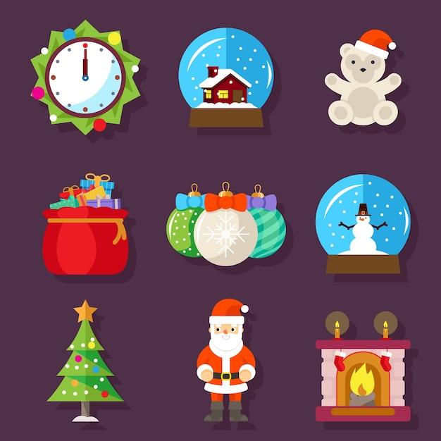 Ícones do design plano de ano novo e natal. lareira com meia, relógio e ursinho de pelúcia, brinquedo e papai noel. ilustração vetorial Vetor Premium