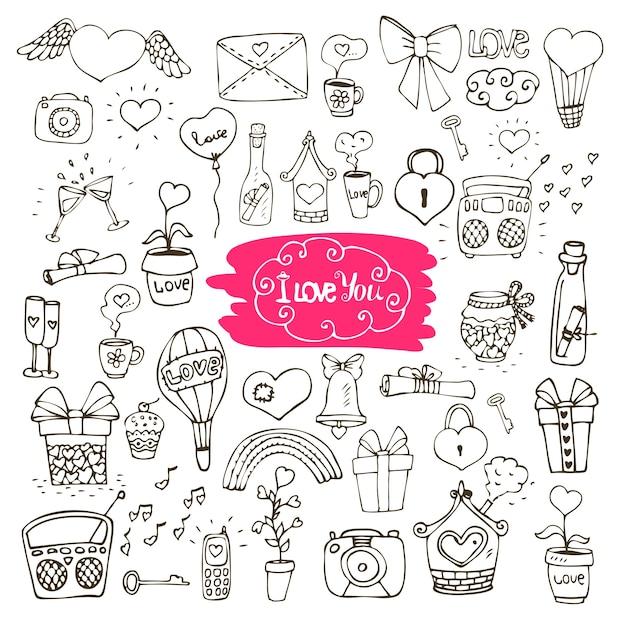 Ícones do doodle de amor Vetor grátis
