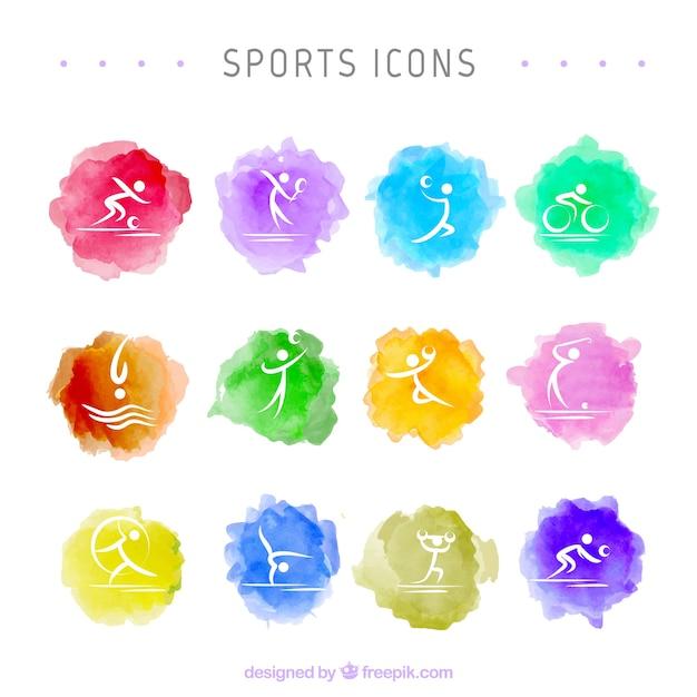 Ícones do esporte watercolor Vetor grátis
