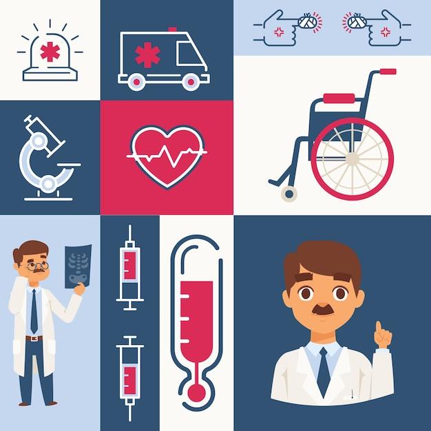 Ícones do hospital e etiquetas, ilustração. colagem com símbolos de cuidados de saúde, médico, cadeira de rodas, seringa e ambulância. ajuda em primeiros socorros, tratamento de doenças cardíacas Vetor Premium