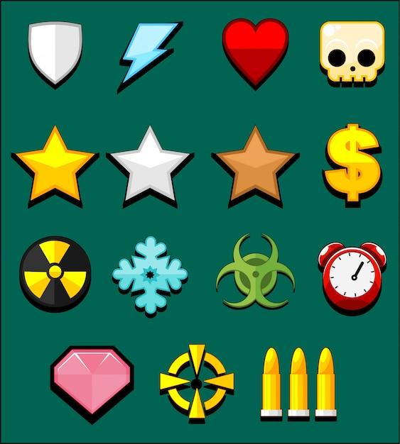 Ícones do jogo de ação Vetor Premium