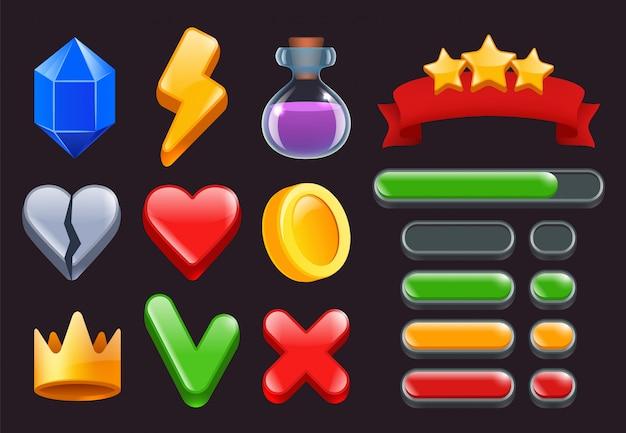 Ícones do jogo ui kit. estrelas de menus de fitas coloridas e barras de status para interfaces de jogos on-line da web ou smartphone, símbolos 2d Vetor Premium