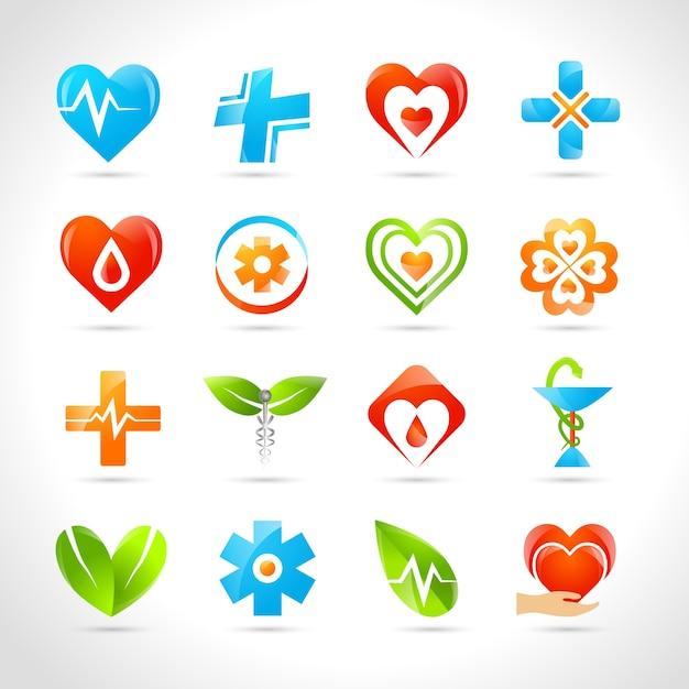 Ícones do logotipo médico Vetor grátis