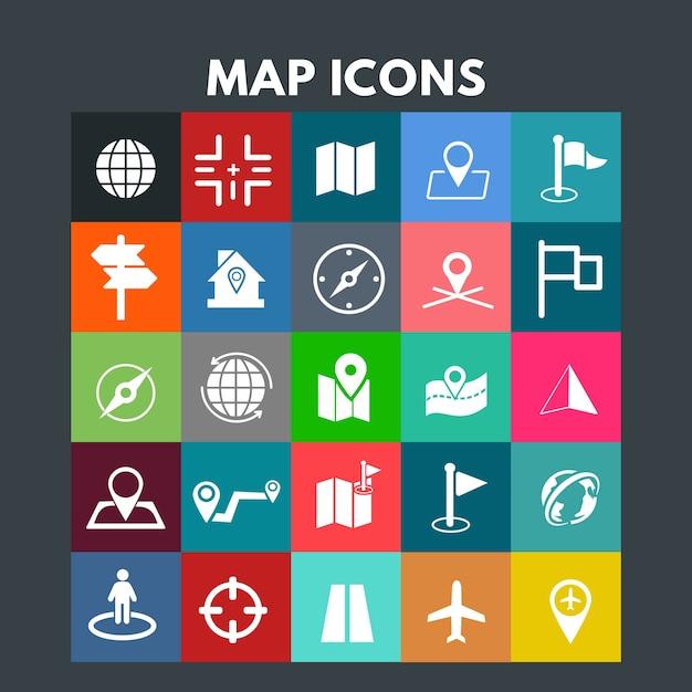 Ícones do mapa Vetor grátis