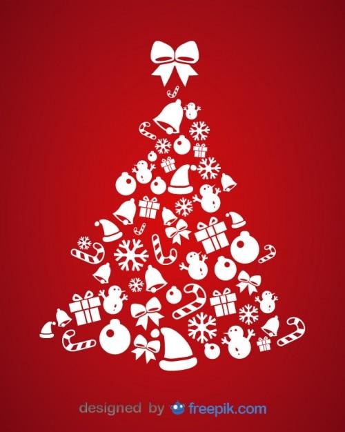 Ícones do Natal cartão do vetor da ilustração da árvore Vetor grátis