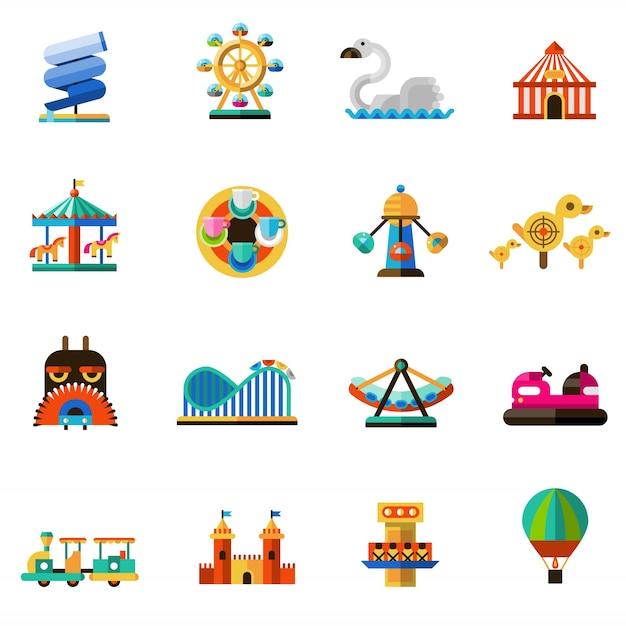 Ícones do parque de diversões Vetor grátis