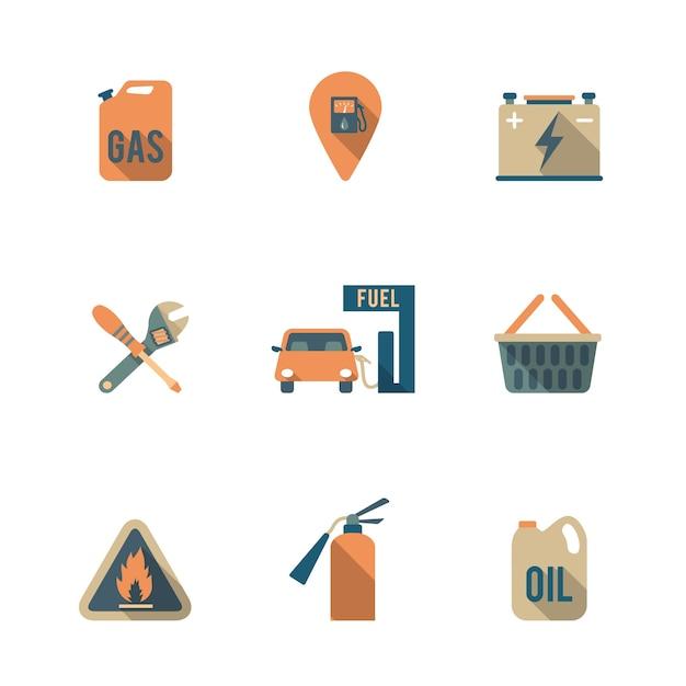 Ícones do posto de gasolina Vetor grátis