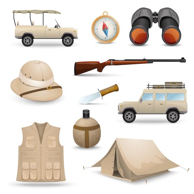 Ícones do safari para caça Vetor grátis