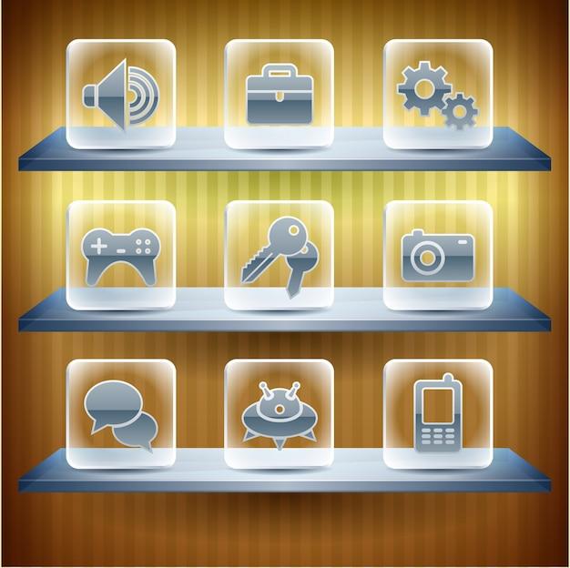 Ícones do site da internet, botão de vidro transparente Vetor Premium