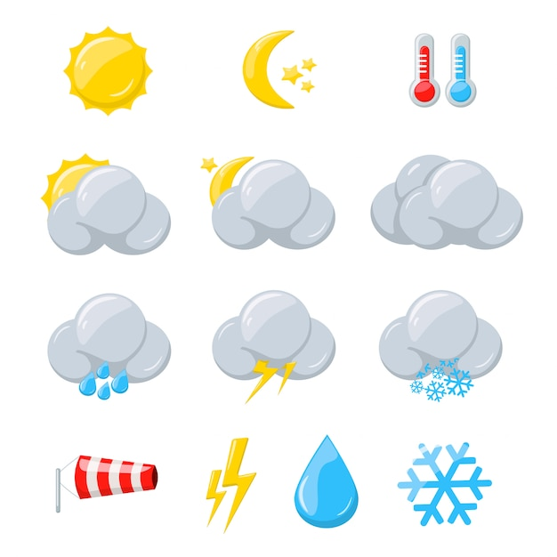 Ícones do tempo para previsão de meteorologia com sol Vetor Premium