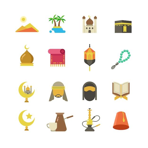 Ícones do vetor árabe cultura muçulmana Vetor Premium