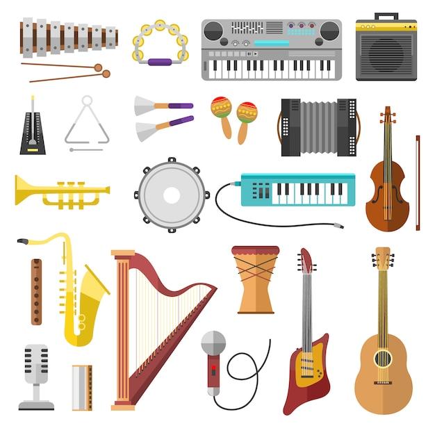 Ícones do vetor de instrumentos de música Vetor Premium