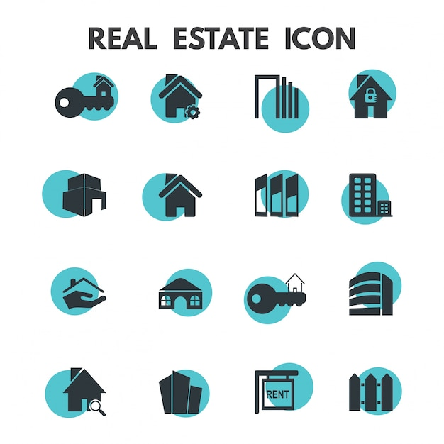 Ícones dos bens imobiliários Vetor grátis