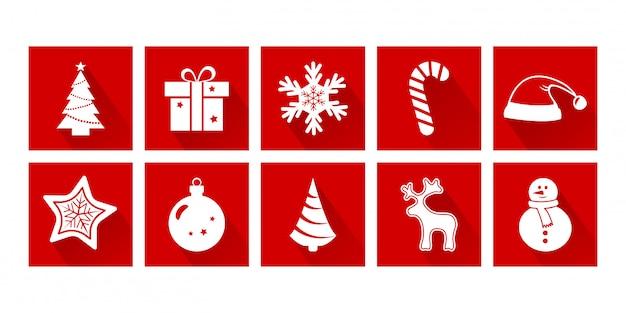 Ícones dos desenhos animados de natal. ano novo. conjunto de decoração de férias, cores vermelhas e brancas. ilustração vetorial Vetor Premium