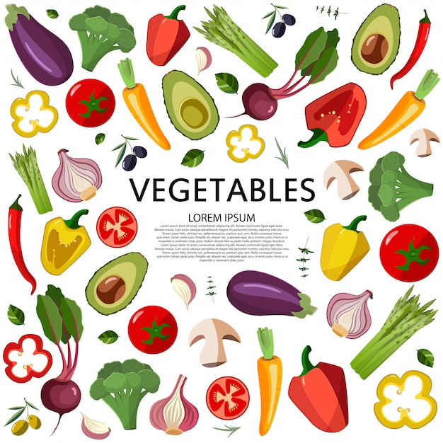 Ícones dos vegetais ajustados no estilo dos desenhos animados em um fundo branco. Vetor Premium