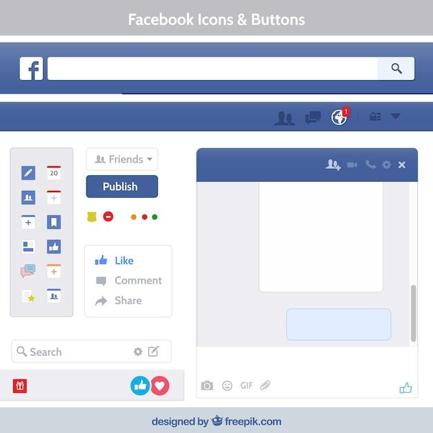 Ícones e botões do facebook Vetor grátis