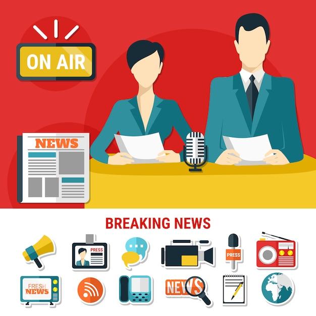 Ícones e ilustração de notícias de última hora Vetor grátis