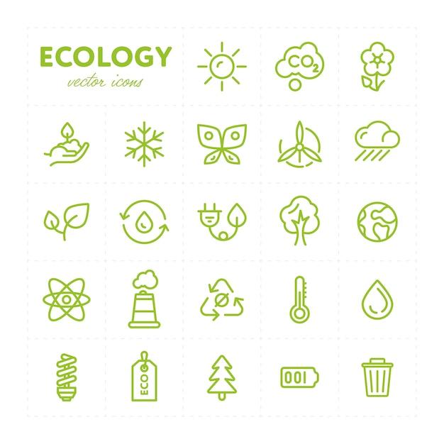Ícones ecológicos coloridos em conjunto Vetor Premium
