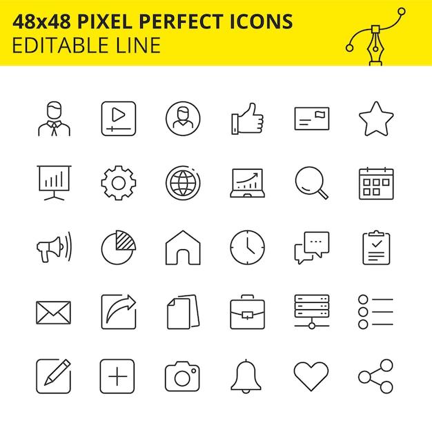 Ícones editáveis para aplicativos móveis, sites e outras plataformas Vetor Premium