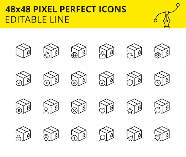 Ícones em escala de caixas de pacote e entrega. Vetor Premium