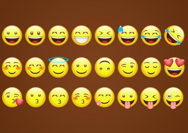 Ícones emoticons Vetor Premium