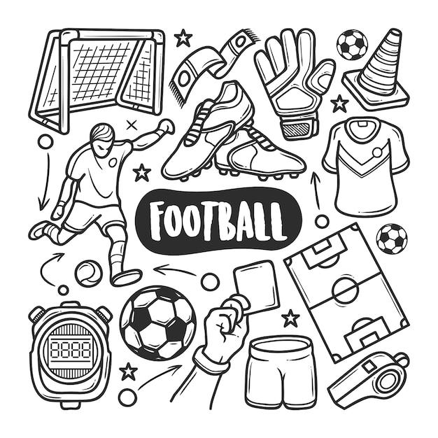 Ícones futebol mão desenhada doodle colorir Vetor Premium