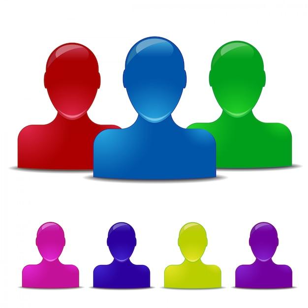 Ícones humanos coloridos Vetor Premium