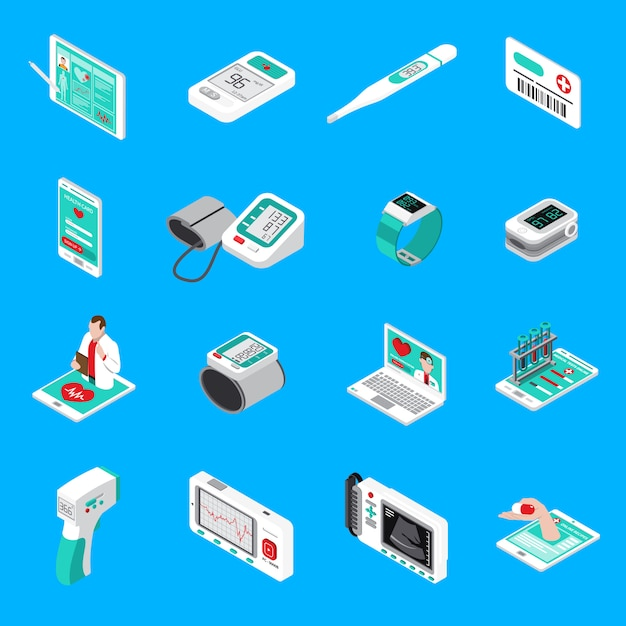 Ícones isométricos de aparelhos médicos Vetor grátis
