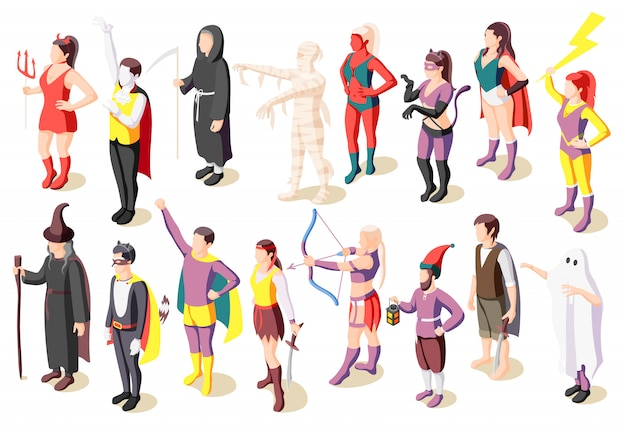 Ícones isométricos de baile de máscaras conjunto com pessoas vestindo trajes de múmia sálvia demônio fantasma super-herói pirata gnomo isolado Vetor grátis