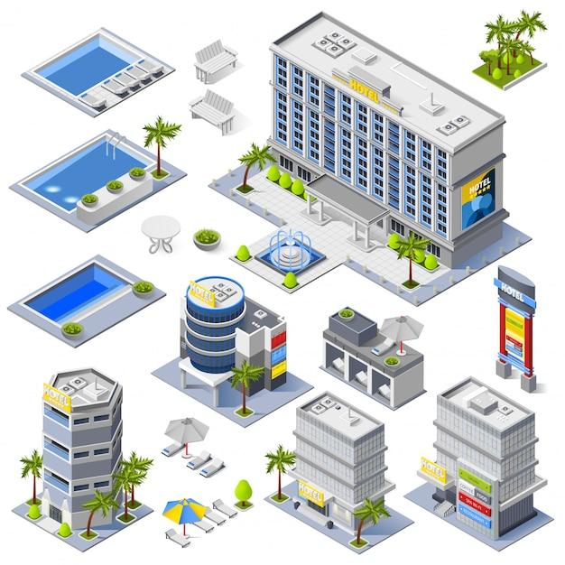 Ícones isométricos de edifícios de hotel de luxo Vetor grátis